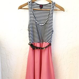 Cute Striped Hi Low Belted Dress